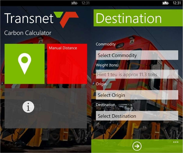 transnet carbon calculator
