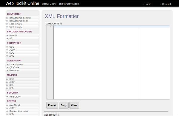 web toollkit xml formatter