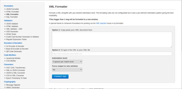 xml formatter