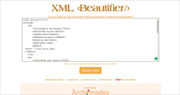 xml beautifier