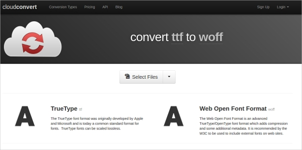 convert ttf to woff