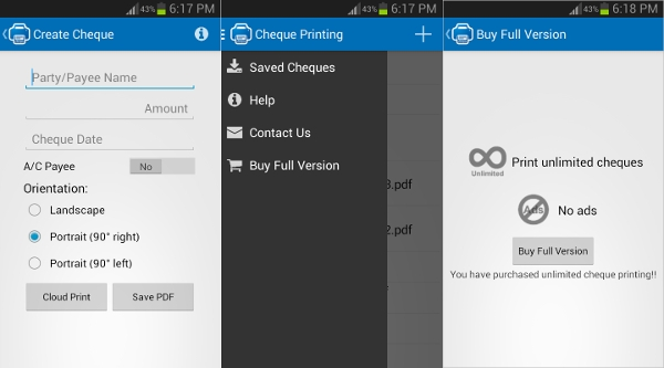 cheque printing for android