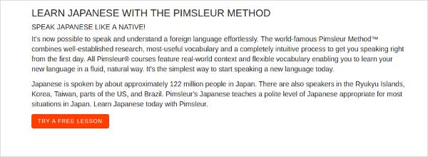 pimsleur learn japanese