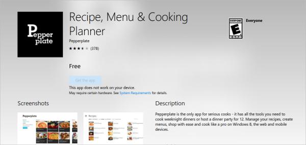 recipe menu cooking planner
