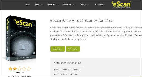 escan anti virus security for mac