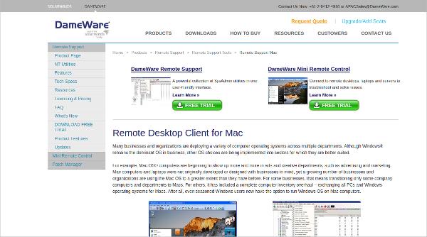 dameware remote desktop client