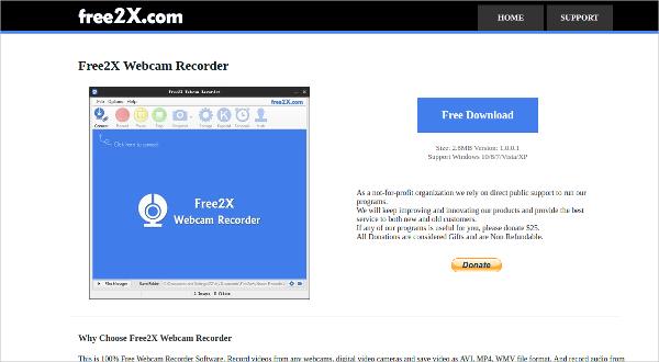 free2x webcam recorder