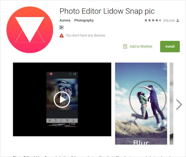 photo editor lidow snap pic