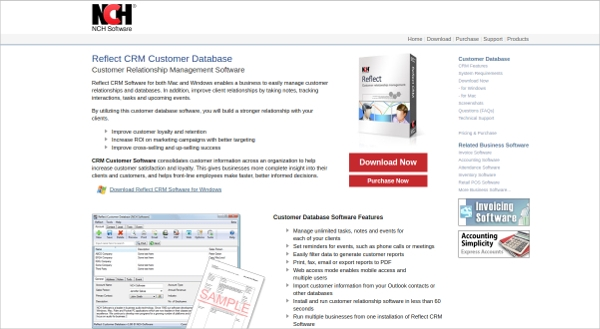 reflect crm customer database