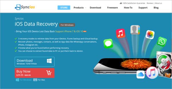 syncios ios data recovery