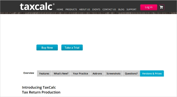 taxcalc tax return production