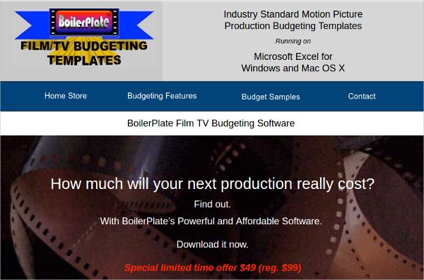 boilerplate film tv budgeting