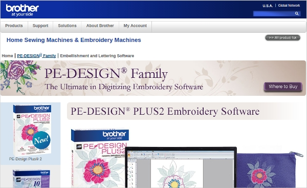 pe design%c2%ae plus2 embroidery software