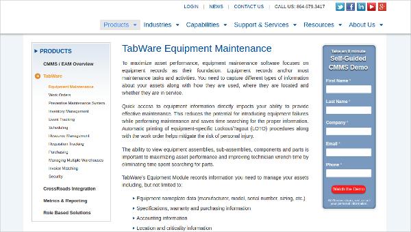 tabware equipment maintenance