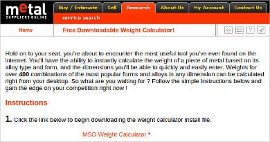 mso weight calculator