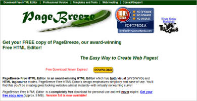 pagebreeze free html editor for windows