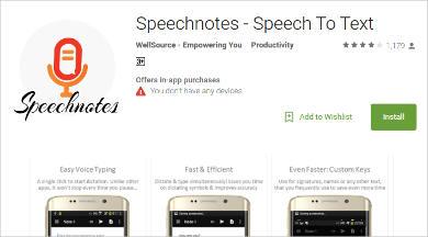speechnotes speech to text