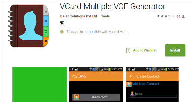 vcard multiple vcf generator for android