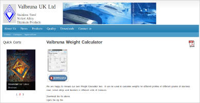 valbruna weight calculator for windows