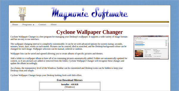 cyclone wallpaper changer