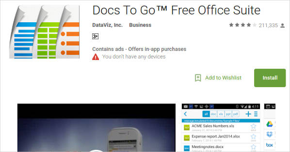 docs to go%e2%84%a2 free office suite for android