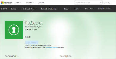 fatsecret for windows