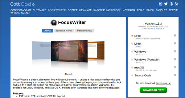 focuswriter most popular software