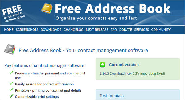 free address book most popular software