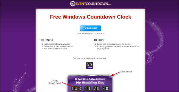 free windows countdown clock