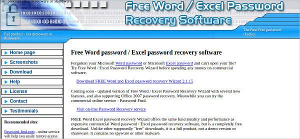 free word and excel password recovery