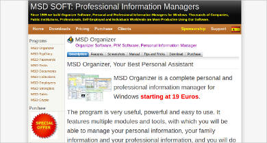 msd organizer most popular software