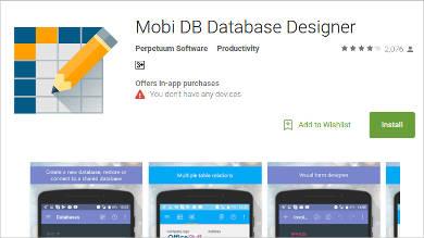 mobi db database designer for android