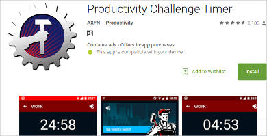 productivity challenge timer for android