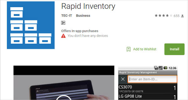 rapid inventory for android