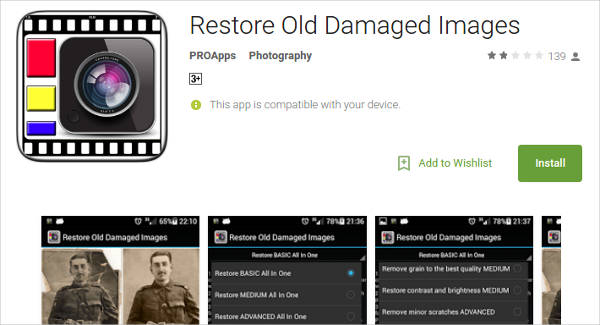restore old damaged images for android