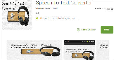 speech to text converter for android