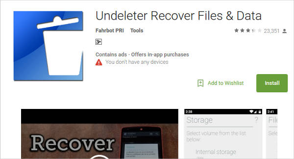 undeleter recover files data for android