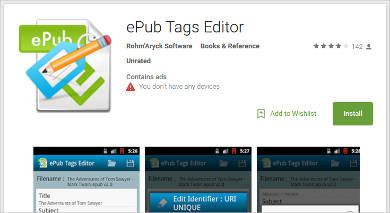epub tags editor for android