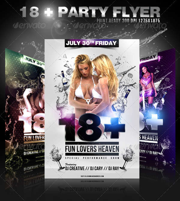 18 party event flyer