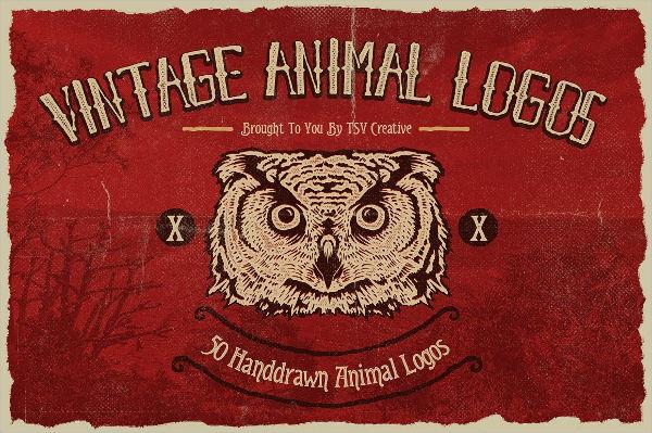 50 vintage animal logo