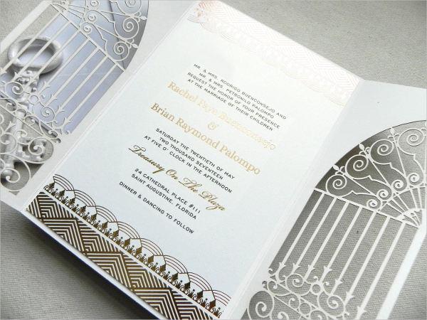 art deco foilwedding invitation