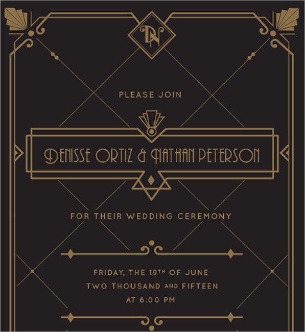 art deco font wedding invitation