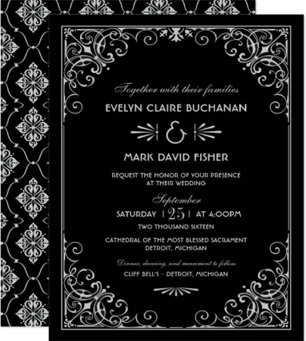 art deco wedding event invitation