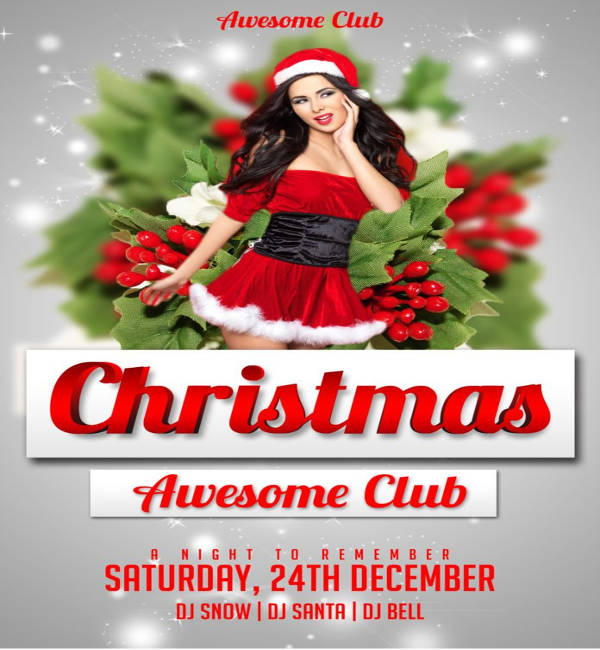 awesome club christmas party flyer template