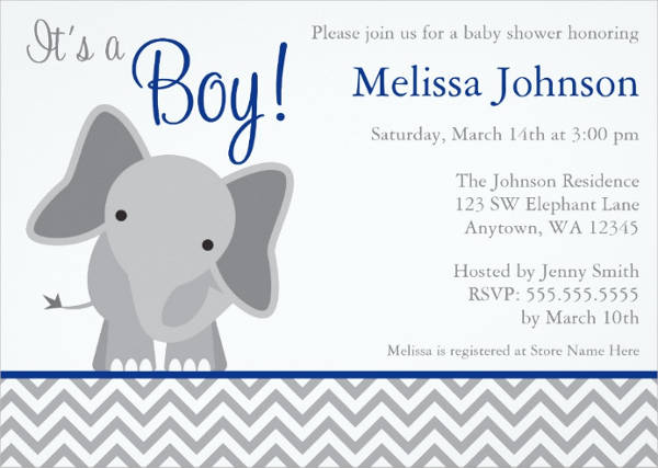 baby shower elephant invitation template