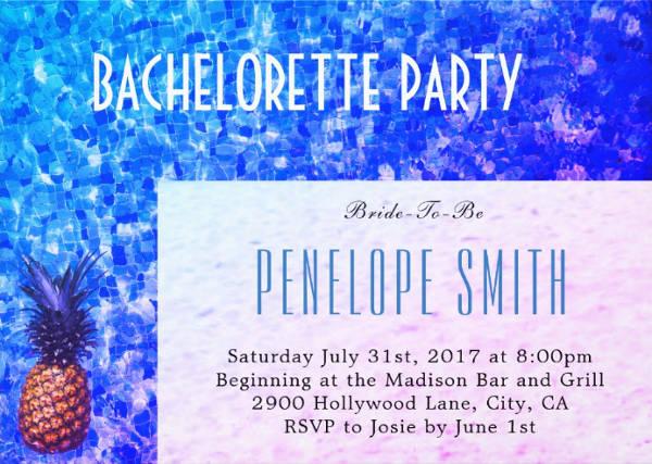 bachelorette pool party invitation