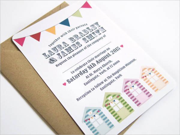 beach hut wedding invitation