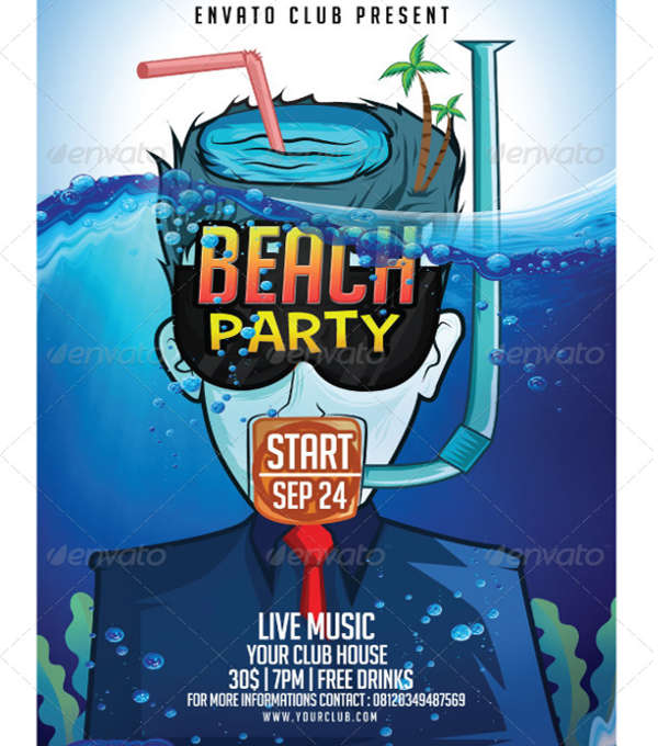 beach party event flyer