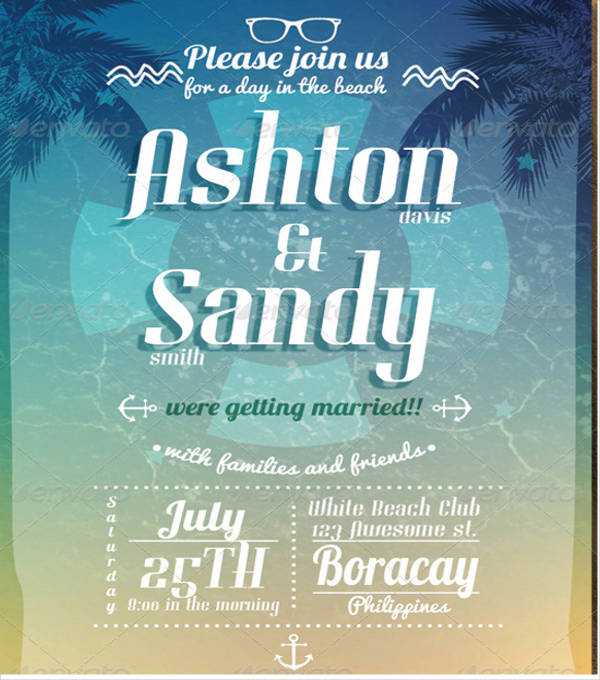 beach wedding event invitation