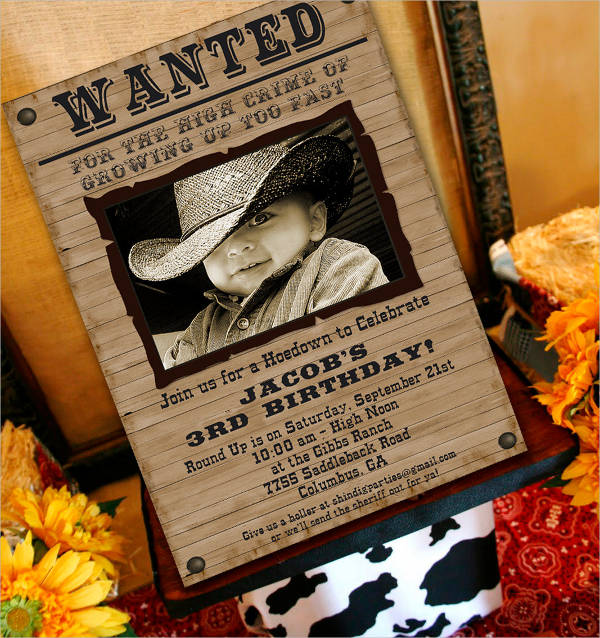 birthday invitation wanted poster